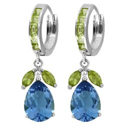 ALARRI 14.3 CTW 14K Solid White Gold Play Peridot Blue Topaz Earrings