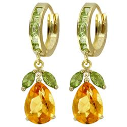 ALARRI 14.3 Carat 14K Solid Gold Huggie Earrings Peridot Citrine