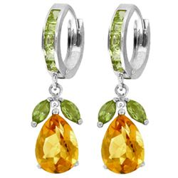 ALARRI 14.3 Carat 14K Solid White Gold Huggie Earrings Peridot Citrine