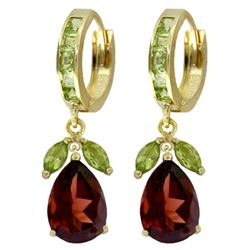 ALARRI 14.3 Carat 14K Solid Gold Huggie Earrings Peridot Garnet