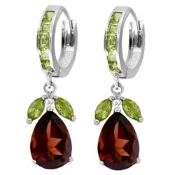 ALARRI 14.3 Carat 14K Solid White Gold Huggie Earrings Peridot Garnet