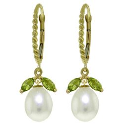 ALARRI 9 Carat 14K Solid Gold Leverback Earrings Peridot Pearl
