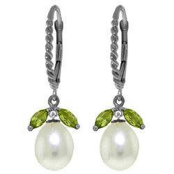 ALARRI 9 CTW 14K Solid White Gold Leverback Earrings Peridot Pearl