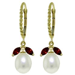 ALARRI 9 Carat 14K Solid Gold Leverback Earrings Garnet Pearl
