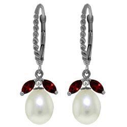 ALARRI 9 Carat 14K Solid White Gold Leverback Earrings Garnet Pearl