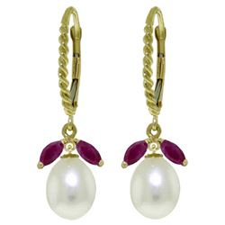 ALARRI 9 Carat 14K Solid Gold Leverback Earrings Ruby Pearl