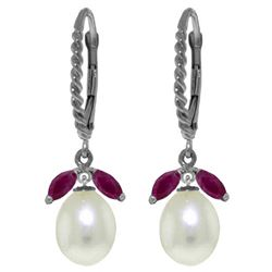 ALARRI 9 CTW 14K Solid White Gold Leverback Earrings Ruby Pearl
