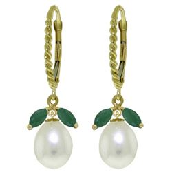 ALARRI 9 Carat 14K Solid Gold Leverback Earrings Emerald Pearl