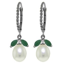 ALARRI 9 Carat 14K Solid White Gold Leverback Earrings Emerald Pearl