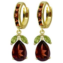 ALARRI 14.3 CTW 14K Solid Gold Ecstacy Garnet Peridot Earrings