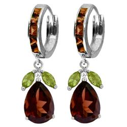 ALARRI 14.3 CTW 14K Solid White Gold Sequel Peridot Garnet Earrings