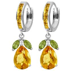 ALARRI 14.3 Carat 14K Solid White Gold Angela's Choice Peridot Citrine Earrings
