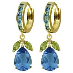 ALARRI 14.3 CTW 14K Solid Gold Ecstacy Blue Topaz Peridot Earrings