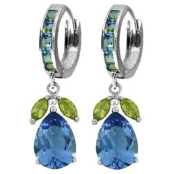 ALARRI 14.3 Carat 14K Solid White Gold Myriad Of Choices Peridot Blue Topaz Earrings