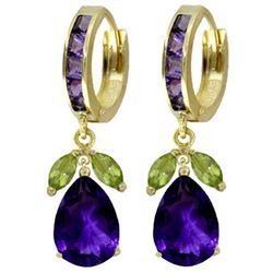 ALARRI 14.3 Carat 14K Solid Gold Ecstacy Amethyst Peridot Earrings