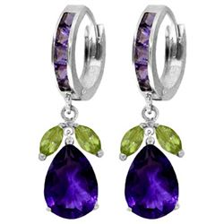 ALARRI 14.3 Carat 14K Solid White Gold Tea Lights Peridot Amethyst Earrings