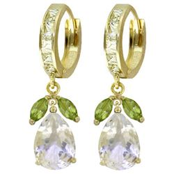 ALARRI 14.3 Carat 14K Solid Gold Huggie Earrings Peridot White Topaz