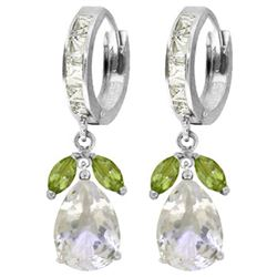 ALARRI 14.3 Carat 14K Solid White Gold Huggie Earrings Peridot White Topaz