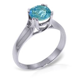ALARRI 1.1 CTW 14K Solid White Gold Silent Message Blue Topaz Ring