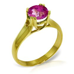 ALARRI 1.1 Carat 14K Solid Gold Love Doesn't Outgrow Pink Topaz Ring