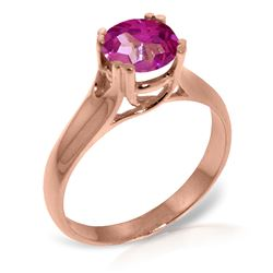 ALARRI 14K Solid Rose Gold Solitaire Ring w/ Natural Pink Topaz