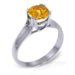 ALARRI 1.1 CTW 14K Solid White Gold Eyes Closed Citrine Ring