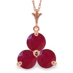 ALARRI 14K Solid Rose Gold Necklace w/ Natural Rubies