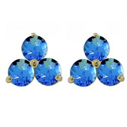 ALARRI 1.5 Carat 14K Solid Gold Flask Of Dew Blue Topaz Earrings