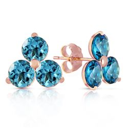 ALARRI 14K Solid Rose Gold Stud Earrings w/ Natural Blue Topaz