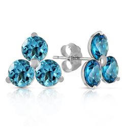 ALARRI 1.5 Carat 14K Solid White Gold Coeurs De Papier Blue Topaz Earrings