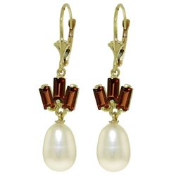 ALARRI 9.35 CTW 14K Solid Gold Leverback Earrings Pearl Garnet