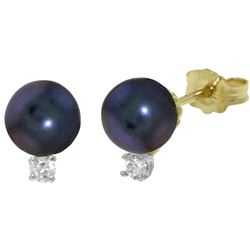 ALARRI 4.1 Carat 14K Solid Gold Unfading Flowers Pearl Diamond Earrings