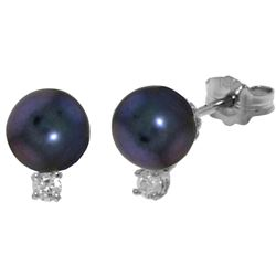 ALARRI 4.1 Carat 14K Solid White Gold One True Love Pearl Diamond Earrings