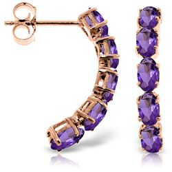 ALARRI 14K Solid Rose Gold Earrings w/ Natural Amethysts