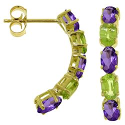 ALARRI 2.5 Carat 14K Solid Gold Earrings Natural Amethyst Peridot