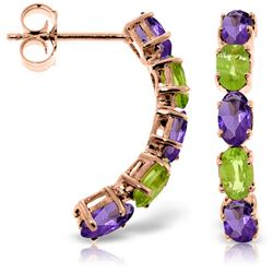 ALARRI 14K Solid Rose Gold Earrings w/ Natural Amethysts & Peridots