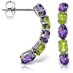 ALARRI 2.5 CTW 14K Solid White Gold Earrings Natural Amethyst Peridot