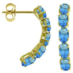 ALARRI 2.5 Carat 14K Solid Gold Earrings Natural Blue Topaz