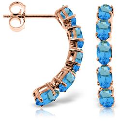 ALARRI 14K Solid Rose Gold Earrings w/ Natural Blue Topaz