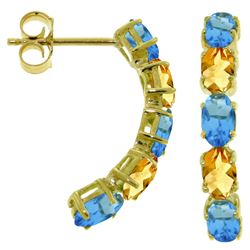 ALARRI 2.5 Carat 14K Solid Gold Earrings Natural Blue Topaz Citrine