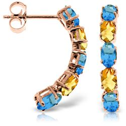 ALARRI 14K Solid Rose Gold Earrings w/ Natural Blue Topaz & Citrines