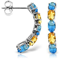 ALARRI 2.5 Carat 14K Solid White Gold Earrings Natural Blue Topaz Citrine