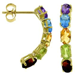 ALARRI 2.5 CTW 14K Solid Gold Earrings Natural Multicolor Gemstones