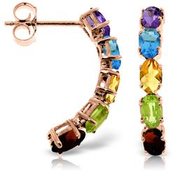 ALARRI 14K Solid Rose Gold Earrings w/ Natural Multicolor Gemstones