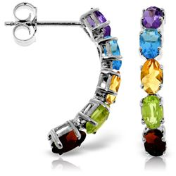 ALARRI 2.5 Carat 14K Solid White Gold Earrings Natural Multicolor Gemstones