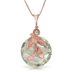 ALARRI 14K Solid Rose Gold Necklace w/ Natural Green Amethyst & Diamond