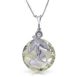 ALARRI 5.32 Carat 14K Solid White Gold Necklace Natural Green Amethyst Diamond