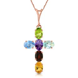 ALARRI 1.5 Carat 14K Solid Rose Gold Cross Necklace Natural Multicolor Gems