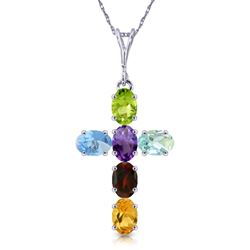 ALARRI 1.5 Carat 14K Solid White Gold Cross Necklace Natural Multicolor Gems
