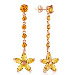 ALARRI 14K Solid Rose Gold Chandelier Earrings w/ Citrines